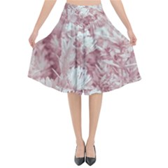 Pink Colored Flowers Flared Midi Skirt by dflcprints