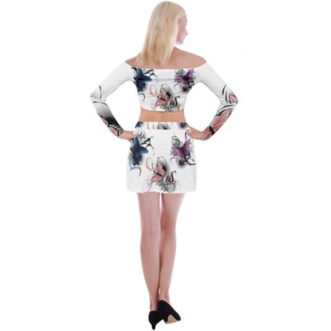 Off Shoulder Top with Mini Skirt Set