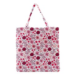 Red Floral Seamless Pattern Grocery Tote Bag by TastefulDesigns