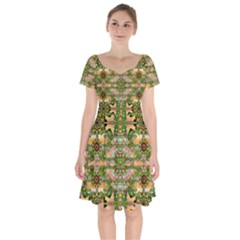 Star Shines On Earth For Peace In Colors Short Sleeve Bardot Dress by pepitasart