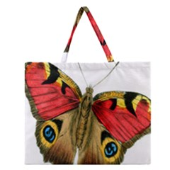 Butterfly Bright Vintage Drawing Zipper Large Tote Bag by Nexatart