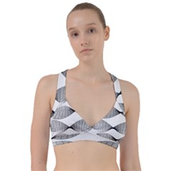 Curves Pattern Black On White Sweetheart Sports Bra by CrypticFragmentsColors