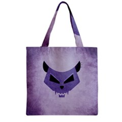 Purple Evil Cat Skull Grocery Tote Bag by CreaturesStore
