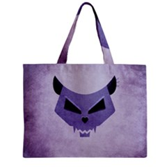 Purple Evil Cat Skull Zipper Mini Tote Bag by CreaturesStore