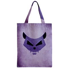 Purple Evil Cat Skull Zipper Classic Tote Bag by CreaturesStore