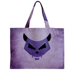 Purple Evil Cat Skull Zipper Medium Tote Bag by CreaturesStore