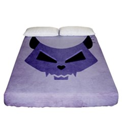 Purple Evil Cat Skull Fitted Sheet (california King Size) by CreaturesStore
