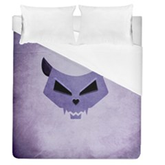 Purple Evil Cat Skull Duvet Cover (queen Size) by CreaturesStore