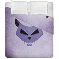 Purple Evil Cat Skull Duvet Cover Double Side (california King Size) by CreaturesStore