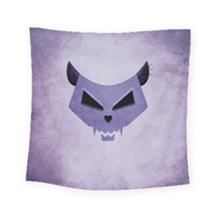 Purple Evil Cat Skull Square Tapestry (small) by CreaturesStore