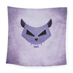 Purple Evil Cat Skull Square Tapestry (large) by CreaturesStore
