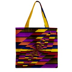 Autumn Check Zipper Grocery Tote Bag by designworld65