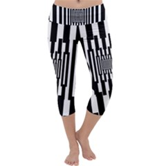 Black Stripes Endless Window Capri Yoga Leggings by designworld65