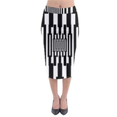 Black Stripes Endless Window Midi Pencil Skirt by designworld65