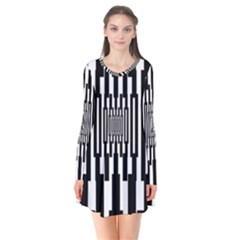 Black Stripes Endless Window Flare Dress by designworld65