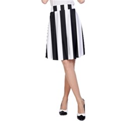 Black And White Stripes A Line Skirt by designworld65