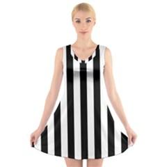 Black And White Stripes V Neck Sleeveless Skater Dress by designworld65
