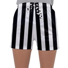 Black And White Stripes Sleepwear Shorts by designworld65