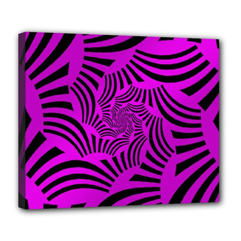 Black Spral Stripes Pink Deluxe Canvas 24  X 20   by designworld65