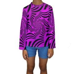 Black Spral Stripes Pink Kids  Long Sleeve Swimwear by designworld65