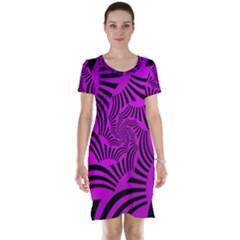Black Spral Stripes Pink Short Sleeve Nightdress by designworld65