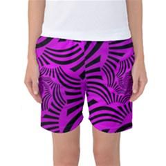 Black Spral Stripes Pink Women s Basketball Shorts by designworld65