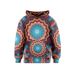 Blue Feather Mandala Kids  Pullover Hoodie by designworld65
