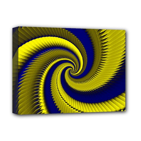 Blue Gold Dragon Spiral Deluxe Canvas 16  X 12   by designworld65