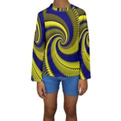 Blue Gold Dragon Spiral Kids  Long Sleeve Swimwear by designworld65