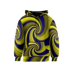 Blue Gold Dragon Spiral Kids  Zipper Hoodie by designworld65