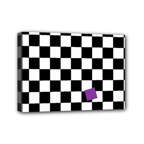 Dropout Purple Check Mini Canvas 7  X 5  by designworld65