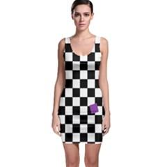 Dropout Purple Check Bodycon Dress by designworld65