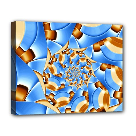 Gold Blue Bubbles Spiral Deluxe Canvas 20  X 16   by designworld65