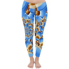 Gold Blue Bubbles Spiral Classic Winter Leggings by designworld65