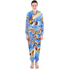 Gold Blue Bubbles Spiral Hooded Jumpsuit (ladies)  by designworld65