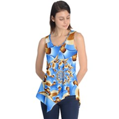 Gold Blue Bubbles Spiral Sleeveless Tunic by designworld65