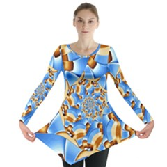 Gold Blue Bubbles Spiral Long Sleeve Tunic  by designworld65
