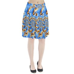 Gold Blue Bubbles Spiral Pleated Skirt by designworld65
