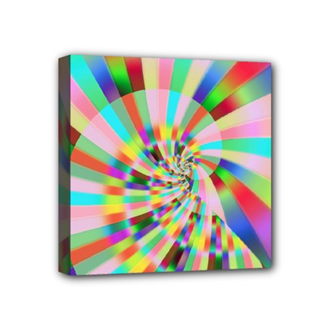 Irritation Funny Crazy Stripes Spiral Mini Canvas 4  X 4  by designworld65
