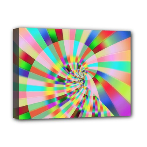 Irritation Funny Crazy Stripes Spiral Deluxe Canvas 16  X 12   by designworld65