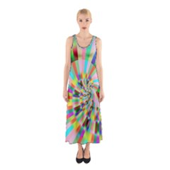 Irritation Funny Crazy Stripes Spiral Sleeveless Maxi Dress by designworld65