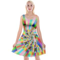 Irritation Funny Crazy Stripes Spiral Reversible Velvet Sleeveless Dress by designworld65