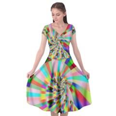 Irritation Funny Crazy Stripes Spiral Cap Sleeve Wrap Front Dress by designworld65