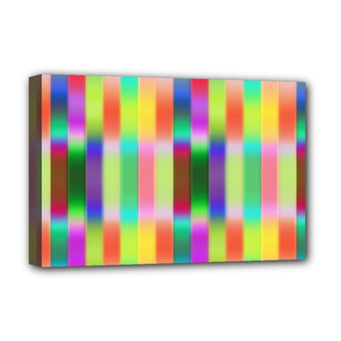 Multicolored Irritation Stripes Deluxe Canvas 18  X 12   by designworld65