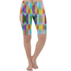 Multicolored Irritation Stripes Cropped Leggings  by designworld65