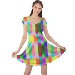 Multicolored Irritation Stripes Cap Sleeve Dress by designworld65
