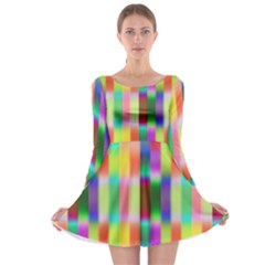 Multicolored Irritation Stripes Long Sleeve Skater Dress by designworld65