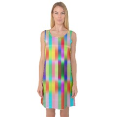 Multicolored Irritation Stripes Sleeveless Satin Nightdress by designworld65