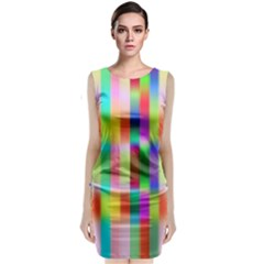 Multicolored Irritation Stripes Classic Sleeveless Midi Dress by designworld65