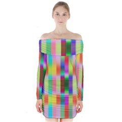 Multicolored Irritation Stripes Long Sleeve Off Shoulder Dress by designworld65
